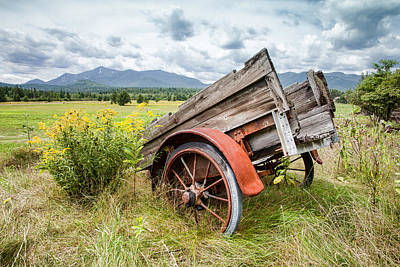 Country Scene Photograph - Rustic Landscapes - Wagon And Wildflowers by Gary Heller