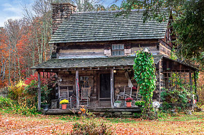 Photograph - Rustic Log Cabin by Mary Almond