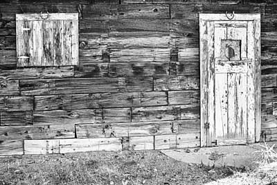 Photograph - Rustic Old Colorado Barn Door And Window Bw by James BO Insogna