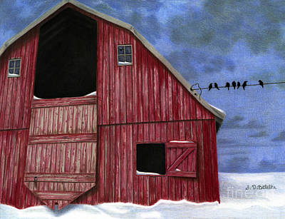 Primitive Art Painting - Rustic Red Barn In Winter by Sarah Batalka