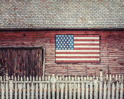 Rustic Red Barn With American Flag  Art Print by Lisa Russo