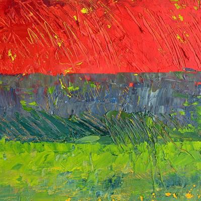 Moody Painting - Rustic Roadside Series - Red Sky by Michelle Calkins