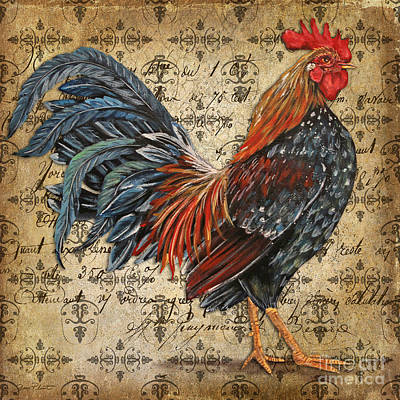 Le Coq Painting - Rustic Rooster-jp2122 by Jean Plout