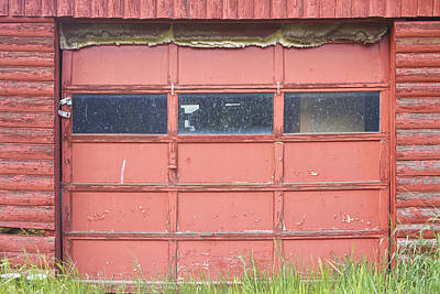 Photograph - Rustic Rural Red Garage Door by James BO  Insogna