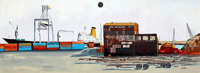 Painting - Rustic Schnitzer Steel Building And Ship by Asha Carolyn Young