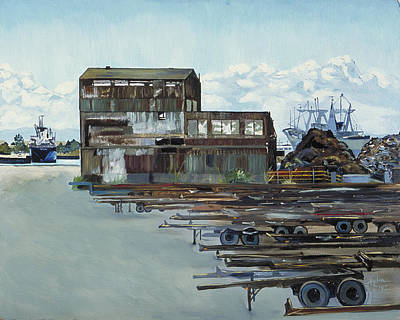 Art Print featuring the painting Rustic Schnitzer Steel Building With Trailers At The Port Of Oakland  by Asha Carolyn Young