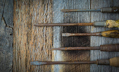 Rustic Screwdrivers On Wood Background Art Print by Brandon Bourdages
