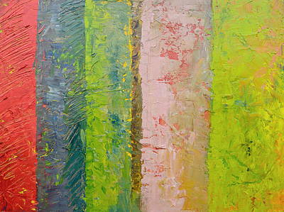 Oversized Painting - Rustic Stripes With Pea Green by Michelle Calkins