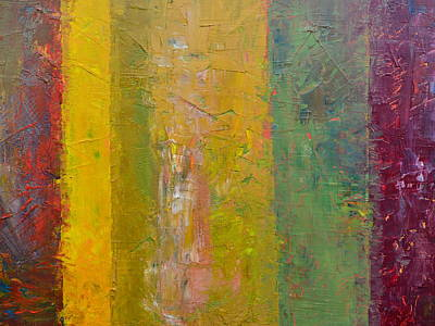 Oversized Painting - Rustic Stripes With Yellow by Michelle Calkins
