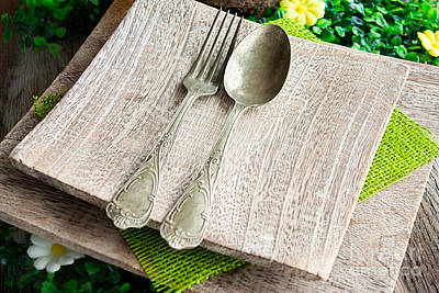 Tableware Photograph - Rustic Table Setting by Mythja  Photography
