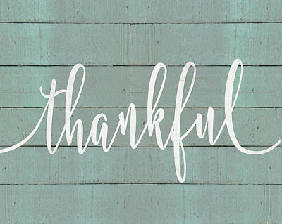 Painting - Rustic Thankful Script by Jo Moulton