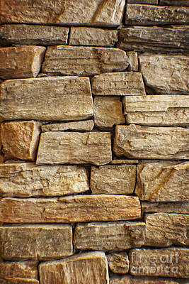 Rustic Warm Stone Wall Art Art Print by Ella Kaye Dickey