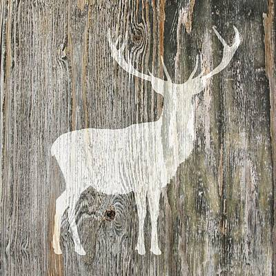 Rustic White Stag Deer Silhouette On Wood Right Facing Art Print by Suzanne Powers
