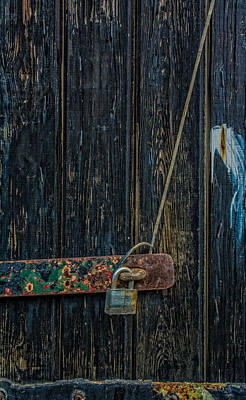 Photograph - Rustic Wood Door With Lock by James Hammond
