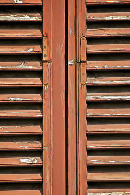 Rustic Wood Window Shutters Of Tuscany Art Print by David Letts