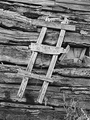 Rustic Wooden Ladder Nailed To Side Of Log Cabin Art Print