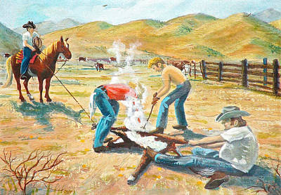 Art Print featuring the painting Rustlers Changing The Brand by Dan Redmon