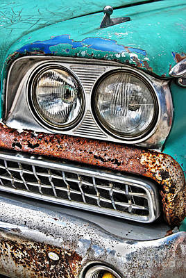 Photograph - Rusty 1959 Ford Station Wagon - Front Detail by Carlos Alkmin