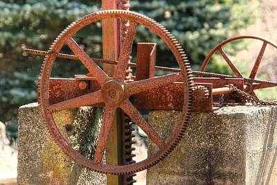 Photograph - Rusty Antique Mill Gears by Denyse Duhaime