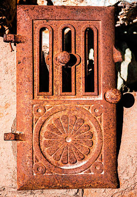 Photograph - Rusty Antique Stove Door by  Onyonet  Photo Studios
