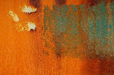 Photograph - Rusty Blue Abstract by Jean Noren