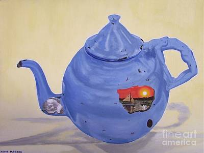 Teapot Painting - Rusty Blue Teapot by Kevin Martin