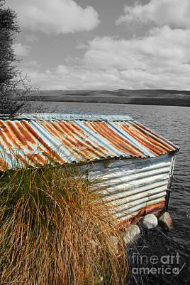 Photograph - Rusty Boatshed On Lake. by Nareeta Martin