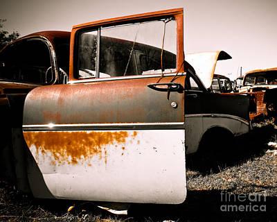 Rusty Door Photograph - Rusty Car Doors by Sonja Quintero