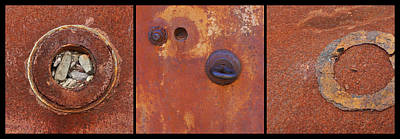 Rusty Circles Triptych Art Print by Art Block Collections