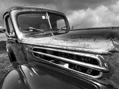 Classic Hotrod Photograph - Rusty Ford 1942 Black And White by Gill Billington