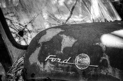 Pine Needles Photograph - Rusty Ford F100 In Black And White by Greg Mimbs
