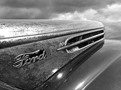 Street Rod Photograph - Rusty Ford Hood And Fender 1942 Black And White by Gill Billington
