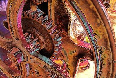 Art Print featuring the photograph Rusty Neon Cog by David Rich
