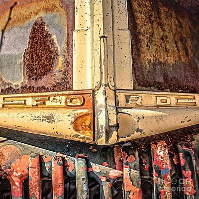 Automobile Hood Photograph - Rusty Old Ford by Edward Fielding