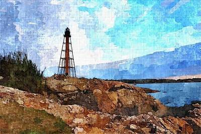 New England Lighthouse Painting - Rusty Old Lighthouse by Rachel Niedermayer