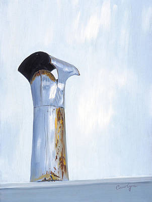 Art Print featuring the painting Rusty Silver Chimney Stack by Asha Carolyn Young