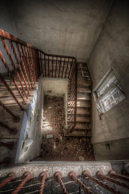 Glass Wall Digital Art - Rusty Stairs by Nathan Wright