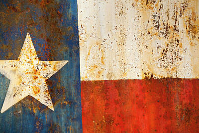 Sign Photograph - Rusty Texas Flag Rust And Metal Series by Mark Weaver