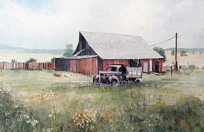 Dump Truck Painting - Rusty Truck And Barn by Richard Hahn