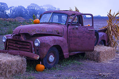 Rusted Cars Photograph - Rusty Truck With Pumpkins by Garry Gay