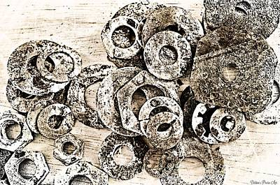 Rusty Washers - Black And White Art Print by Debbie Portwood