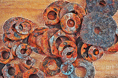 Rusty Washers - Crackle Effect Art Print by Debbie Portwood