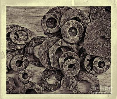 Rusty Washers - Square Grunge Art Print by Debbie Portwood