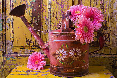 Gerbera Daisy Photograph - Rusty Watering Can by Garry Gay