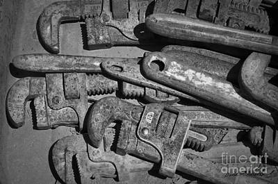 Photograph - Rusty Wrenches Bw by Dave Gordon