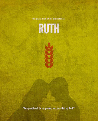God Mixed Media - Ruth Books Of The Bible Series Old Testament Minimal Poster Art Number 8 by Design Turnpike