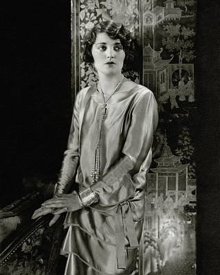 Ruth Elder Wearing A Satin Dress Art Print by Edward Steichen