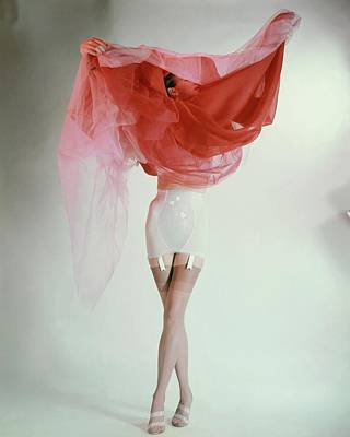 Photograph - Ruth Knowles Lifting A Slip Dress To Reveal by Erwin Blumenfeld