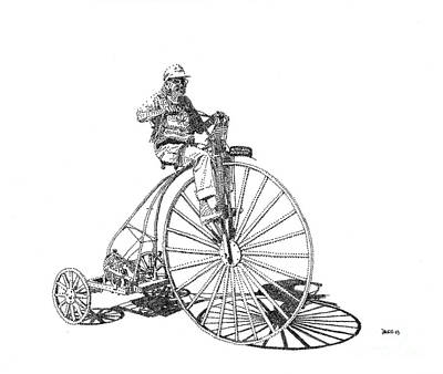 Penny Farthing Drawing - Ruth's Bicycle by Rebecca Sergeant