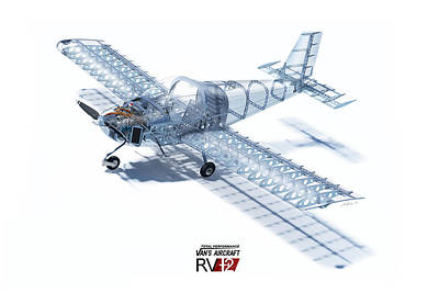 12 Painting - Rv-12 Cutaway With Logo by Hangar B Productions
